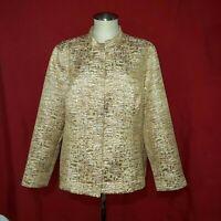 Chico's Beige Gold Shiny Cardigan Blazer Jacket 3