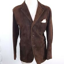 Vintage Leather Suede Jacket Coat Brown Rockabilly Men M Excelled DuPont Quilon