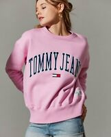 XS - Tommy Jeans 90's Capsule Collection Women Logo Pink Sweatshirt Hilfiger