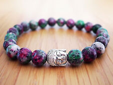 Handmade Semi Precious Stone Bracelet w/ Ruby Zoisite Beads & Silver Buddha Head