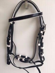 Black PVC Horse Bridle Black PVC Bridle Rubber Grip Reins Size mini to xfull