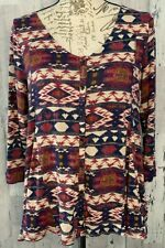 Lucky Brand Womens Top Size S Red Blue Cream Aztec Button Down Casual Geometric