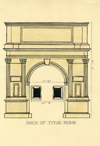 Architectural Elevation, Arch of Titus, Rome – c.1920s pen & ink drawing
