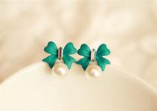 New Pearl Stud Earrings Crystal Earrings Green Bowknot Diamond Earrings Jewelry