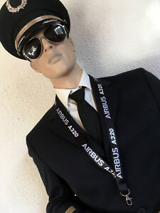 Lanyard AIRBUS A320 BLACK ! keychain neckstrap pilot crew A 320