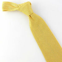 Umo Lorenzo Solid Knit Men's Necktie Yellow Knitted Neck Tie New