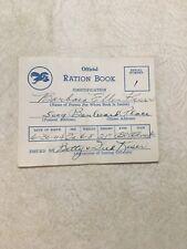 Vintage 1944 Hallmark Card Official Ration Book Baby Book