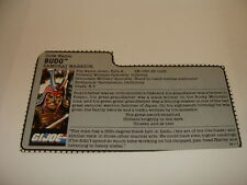Budo 1988  File Card  GI Joe Vintage
