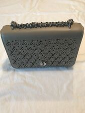 NWT TORY BURCH Robinson FLORAL PERFORATED SHOULDER Leather FRENCH GRAY