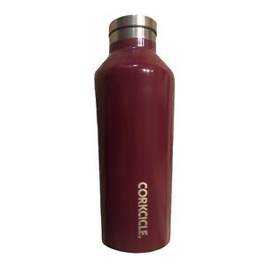 Corkcicle Canteen 9 oz. Maroon Hot or Cold Bottle EUC Travel Cup Coffee Water