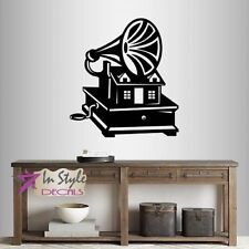 Vinyl Decal Music Box Retro Gramophone with Old House Vintage Wall Sticker 405