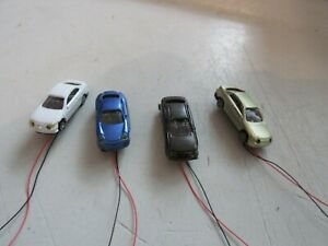 4 Stück Modellautos spur N beleuchtet ca 9-12V