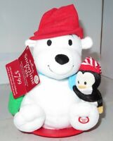 Hallmark Snowtime Pals Polar Bear & Penguin Disc Sledding Animated Plush EUC Tag