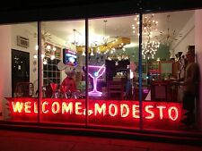 "Vintage 1920's 1930's Original ""Welcome To Modesto"" Neon Sign Rare California"