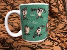 TAZ Tazmanian Devil Green Coffee Mug Cup Warner Bros Studio Store Retired 1994