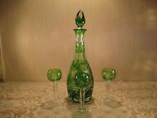 Vintage Bohemian Czech Cut to Clear Crystal Decanter & Cordial Hocks ~EVC~