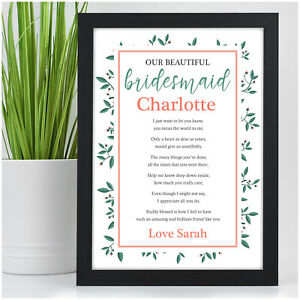 PERSONALISED Gifts for Bridesmaid Maid of Honour Flower Girl - Bridesmaid Poem