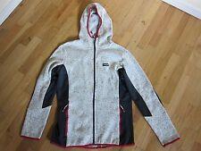 Brugi Grey Black Fleece Zip Up Jacket With Hood Women's Size Large