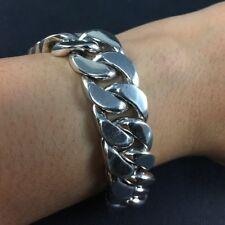 "152g Chunky 925 Silver Artisan Wide Curb Solid Chain Men Rock Biker Bracelet 9"""