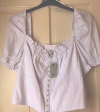 RIVER ISLAND WHITE OFF THE SHOULDER CROP BLOUSE SIZE 18 BNWT