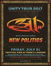 311 Unity Tour 2017 Concert Poster From Philadelphia,Albuquerque, Salt Lake City