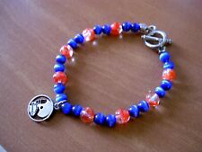 "& Orange Glass Beaded Bracelet -8.25"" Sterling Silver 925 Football Charm On Blue"