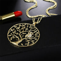 Tree of Life Pendant Necklace Crystal Owl Long Chain Necklaces Jewelry Gifts #