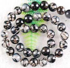 8mm Black Dragon Veins Agate gemstone Round Loose Beads 15''
