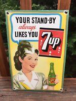 "Vintage 7up Heavy Porcelain Advertising Sign 12""x8"" Soda Cola Sign"