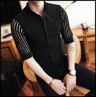 England Style Mens Slim Fit Blouse Shirt Dress Casual 3/4Sleeve Tops M-3XL SIZE
