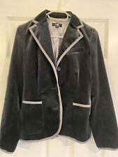 Whistles Vintage Grey Velvet Trouser Suit with Jacket UK 10