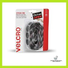 VELCRO® Brand 22mm Black Stick Hook And Loop On Dots - 40 Pack- Adhesive Backed