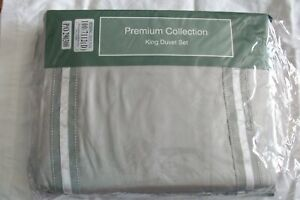 King size cotton sateen duvet set  brand new unused dove ribbon trim grey/cream