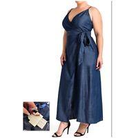NEW Nordstrom Standards & Practices $109 Denim Sleevless WRAP Maxi Dress Size 2X