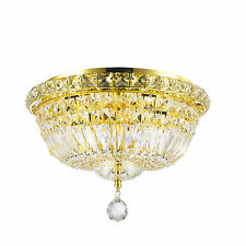 "4-Light Gold Finish D14"" x H9"" Empire Crystal Ceiling Flush Mount Light Round"