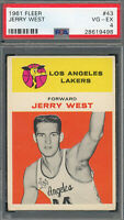 Jerry West Los Angeles Lakers 1961 Fleer Basketball Rookie Card RC #43 PSA 4