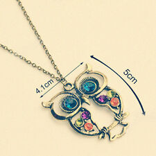 Popular Rhinestone Bronze Color Owl Carved Hollow Chain Necklace Pendant Hot