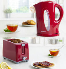 1.7L Aquen Cordless Electric Kettle & 2 Two Bread Slice Slot Toaster Set Red