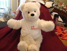 "VTG 1984 ITALIAN ITALY Trupa Stuffed Plush White TEDDY BEAR w Tag T Shirt 21"""