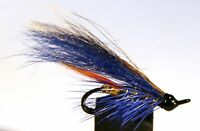 Salmon Fly,Blue Sapphire , Double Hook. (3-pack) Pick a size. Fly Fishing Fly