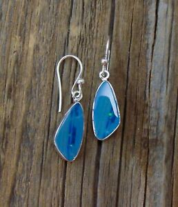 Handmade Boulder Opal Silver Dangle Earrings