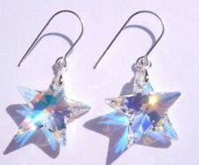 Sterling Silver CRYSTAL AB 20mm STAR Hook Earrings with SWAROVSKI ELEMENTS + Box