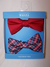 Countess Mara Christmas Bow Tie 2 Pack Red Blue Plaid & Red Polka Dots NEW