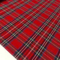 RED ROYAL STEWART TARTAN 100% FINE WEAVE COTTON CHECK FABRIC Christmas