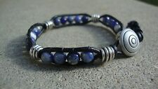 Men's 6mm Sodalite and Silver Beaded Wrap Bracelet with Black Leather  USA