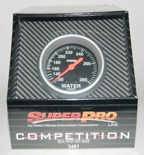 "NEW SUPERPRO COMPETITION 2 5/8"" MECHANICAL WATER TEMP GAUGE w/ Sender 100-280 F"