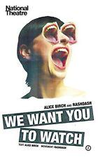 ALICE BIRCH AND RASHDASH __ WE WANT YOU TO WATCH __ BRAND NEW __ FREEPOST UK