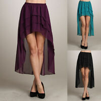 Sexy Asym Hem CHIFFON LAYER TIERED SKIRT Ladies Maxi Elastic Waist Hi Low Dress