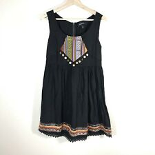 MINKPINK Urban Outfitters Womens sz S Shift Dress Sleeveless Aztec Embroidered