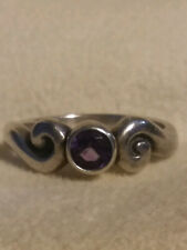JAMES AVERY, SCROLLED AMETHYST RING, RETIRED, RARE .925, SIZE 5.25, (20000055)
